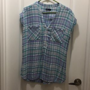 Flannel short sleeve double pocket woven